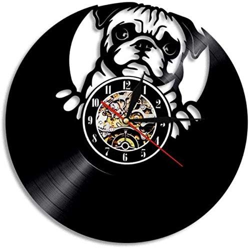 ZZLLL Reloj de Pared de Vinilo Vintage Bulldog inglés Decoración Nocturna con retroiluminación 3D con Reloj de Vinilo DIY Reloj de 12 Pulgadas
