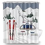 DYNH Winter-Duschvorhang, Ski-bedeckt mit Schneebäumen & weißen Schnee-Bergen, Outdoor-Sport, Winter-Duschvorhang, Stoff-Duschvorhang-Haken, 177,8 cm