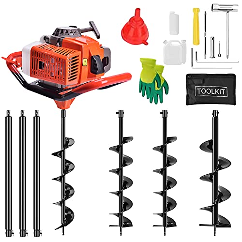 """YiiYYaa 72cc 2 Stroke Post Hole Digger, 3KW Petrol Gas Powered Earth Auger with 3 Bits(4"""", 8"""", 12"""") and 3 Extension Rods"""