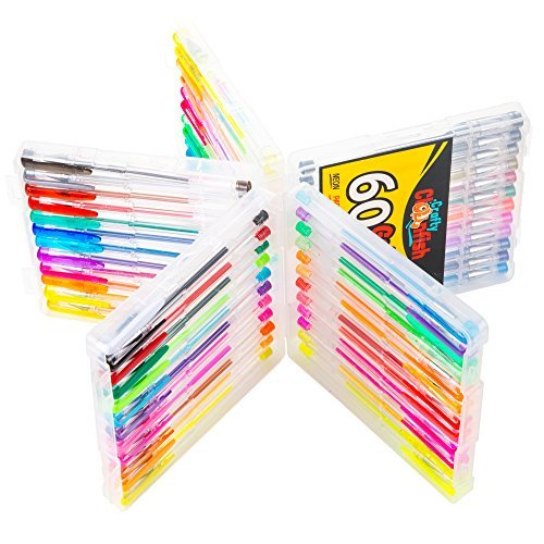 Gel Pens Set - 60 Premium Coloring Gel Pen Set - Hard Case - Perfect Gift for Kids & Adult Scrapbooking - Vibrant No Duplicates - Non Toxic - Color Pens Neon, Fluorescent, Glitter, Metallic, Pastel