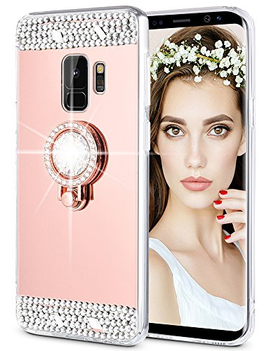 Caka Galaxy S9 Case, Galaxy S9 Glitter Case Mirror Series Luxury Cute Shiny Bling Mirror Makeup Case for Girls with Ring Kickstand Diamond Protective TPU Case for Samsung Galaxy S9 (Rose Gold)
