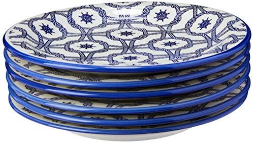 Conjunto com 6 Pratos Raso Oxford Daily Floreal Náutico Branco/Azul 26Cm