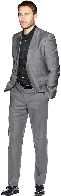 QZI Men's 2 Pieces Suit Slim Fit NotchLapel Tuxedo for Men Business Wedding Dinner