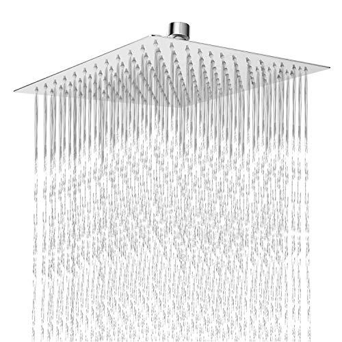 Cabezal de ducha de 12 pulgadas con brazo de ducha ajustable de 11 pulgadas, cabezal de ducha de acero inoxidable con brazo y cascada grande para lluvia, 12'' Squ