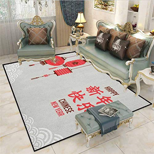 Chinese New Year Runner Rug for Hallway Home Area Rugs Calligraphy Lettering in Kanji with Oriental Lanterns and Circle Motifs Cute Room Decor Baby Multicolor 6 x 8.8 Ft