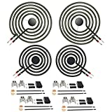 AMI PARTS Stove Burners MP22YA Electric Range Surface Burner Coil Unit Set (2pcs MP15YA 6' & 2pcs MP21YA 8') with 4pcs 330031 Plug-In Block Kit Replacement Part