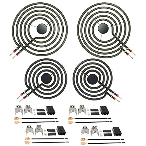 "AMI PARTS Stove Burners MP22YA Electric Range Surface Burner Coil Unit Set (2pcs MP15YA 6"" & 2pcs MP21YA 8"") with 4pcs 330031 Plug-In Block Kit Replacement Part"
