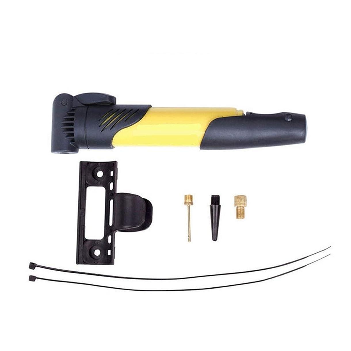 嵐の雪だるまアルネバイクポンプ、ミニバイクタイヤポンプはPrestaとSchraderにフィットします。山、道、雑種及びBMXの自転車のタイヤおよびスポーツの球のための携帯用自転車の空気ポンプ (Color : Yellow)