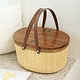 Cesta de picnic de la marca Tengtian, cesta de la compra, cesta de almacenamiento, rattanChinese tradicional artesanías estilo casual natural