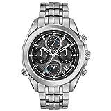 Bulova Men's Analog-Quartz Watch with Stainless-Steel Strap, Silver, 0.85 (Model: 96B260)