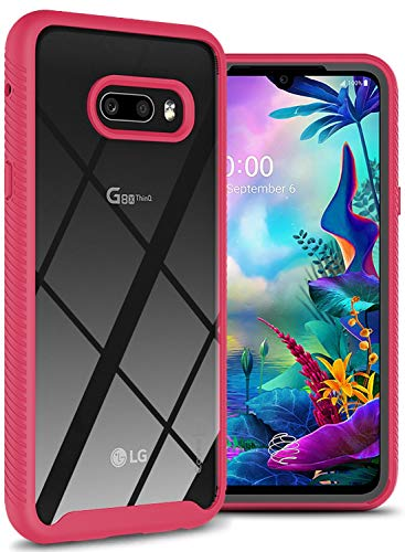 CoverON Heavy Duty EOS Series for LG G8X ThinQ Case/LG V50S ThinQ Case, Clear (Matte Pink Trim)