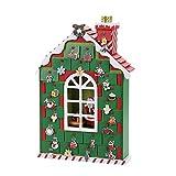 TIM-LI Adventskalender Für Kinder - Holz Sankt Werkstatt Mit 24 Schubladen Countdown to Weihnachtsdekoration Fill Kleine Geschenke