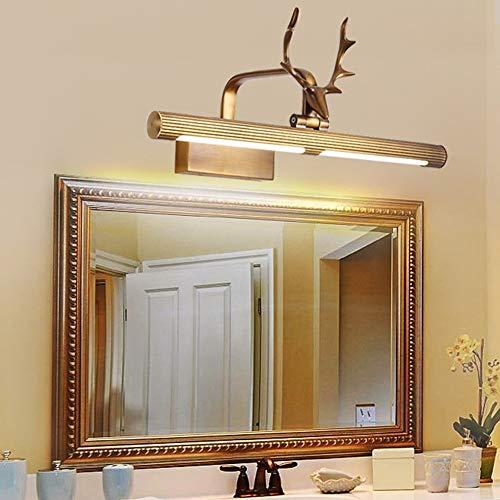 Bradoner Todas las luces de espejo de baño de cobre con cuernos de ciervo impermeables para baño, espejo de baño, gabinete de maquillaje, lámpara de pared dorada 18 x 84,5 cm