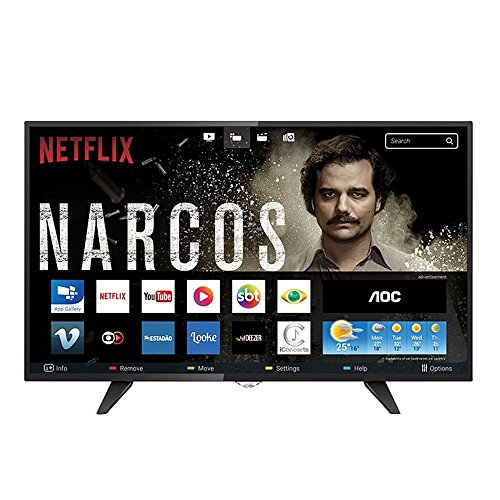Smart TV LED 32' HD com WiFi 2 USB 3 HDMI TV Digital Controle com Botão Netflix, AOC LE32S5970, Preto