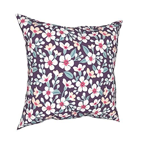 Kissenbezug Kissenbezüge 45x45CM süßes Muster mit kleinen Blumen. Kleine weiße Blumen. Dunkle lila Dekoration für Home Decor Office Sofa Holiday Bar Kaffee Hochzeit Auto