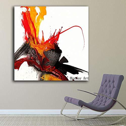wZUN Lienzo Pintura al óleo Pintura al óleo Abstracta Sala de Estar Arte Imagen de la Pared Pasillo del Hotel decoración de la Pared Regalo 60x60 Sin Marco