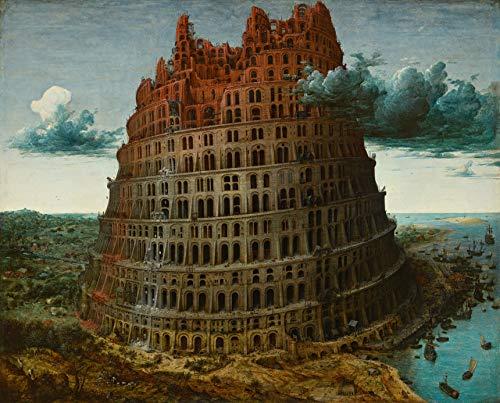 A Torre de Babel Arquitetura com Vários Arcos Símbolo de Arrogância e Perseguição 1563 Pintura de Pieter Bruegel o Velho na Tela em Vários Tamanhos (105 cm X 82 cm tamanho da imagem)