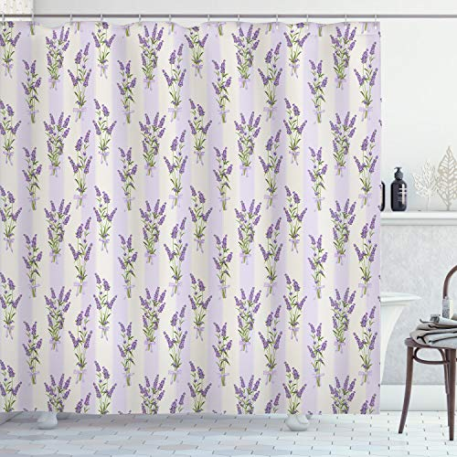 Ambesonne Lavender Shower Curtain, Stripes and Flowers with Ribbons Romantic Country Spring Season Inspired Design Art, Cloth Fabric Bathroom Decor Set with Hooks, 84' Long Extra, Purple
