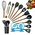 Kitchen Utensil Set, Silicone Cooking utensil set, Kitchen Gadgets utensil set for nonstick cookware, Kitchen Set Kitchen Utensils Turner Tongs Spatula Spoon 100% BPA Free Non-Toxic Cooking utensils by Limit Solutions