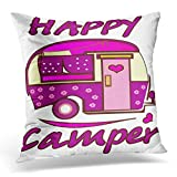 Funda de almohada decorativa de autobús y autobús con dibujos animados para acampar, funda de almohada cuadrada para decoración del hogar, 45,7 x 45,7 cm