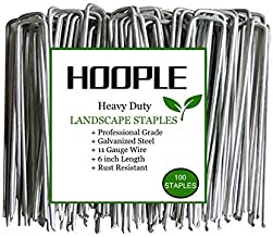 100-Pack 6'' 11 Gauge Heavy-Duty U pins Garden Stples Securing Pegs - Sod Fence Staples for Securing Weed Barrier Fabric Netting, Irrigation Hoses, Ground Mat Sheets and Fabric - Stakes, Garden Spikes