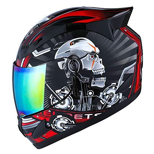 1STORM Motorcycle Bike Full FACE Helmet Mechanic Skull Size Medium - Tinted Visor RED