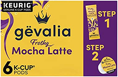 Gevalia Frothy 2-Step Mocha Latte Espresso K-Cup Coffee Pods & Froth Packets Kit (6 ct Box)