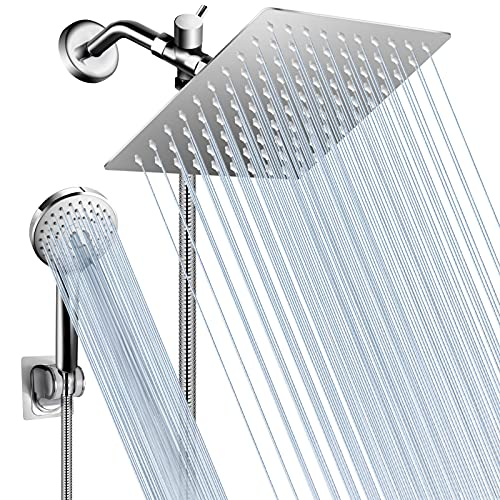 Shower Head with Handheld, 8'' Rainfall Shower Head/High Pressure Handheld Showerhead Combo with 60'' Long Hose, 5 Settings Anti-leak Shower Head with Holder,Height/Angle Adjustable, Chrome