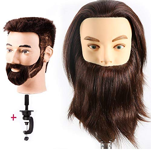 HAIREALM Male Mannequin Head With 100% Human Hair Practice Hairdresser Cosmetology Training Doll Head for Hair Styling (Table Clamp Stand Included) HF0408S