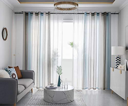 FY FIBER HOUSE Elegant Home Decorative Solid Linen Sheer Curtains 84 Inch Long Decorative Curtains Design for Modern Living Room 52Wx84L Grommet Gradient Gray/ Multicolor
