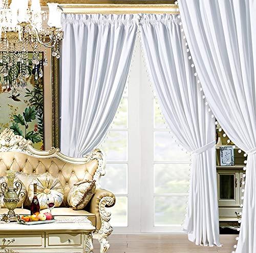 "Modern 4 - Piece Premium Solid White Velvet Curtain Set with Pom Pom Trim. Drapes / Window Panels 116"" Wide X 84"" Tall"