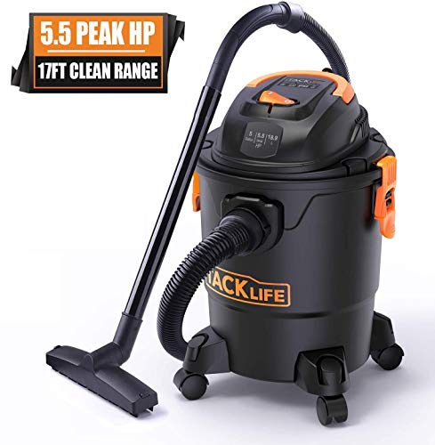 TACKLIFE Wet/Dry Vacuum, 5.5 Peak HP, 5 Gallon with 17 FT Clean Range, 4-Layer Filtration System and Safety Buoy Technology for Dry/Wet/Blowing - PVC01A