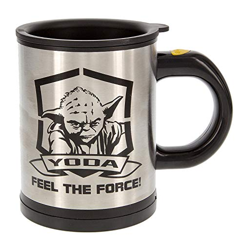 Funko SW00698 Star Wars Feel The Force: Self Stirring Mug: Yoda, Brushed Steel, Silver, 14 x 9 x 11.7 cm