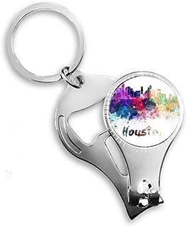 Houston America City Watercolor Nail Nipper Ring Key Chain Bottle Opener Clipper