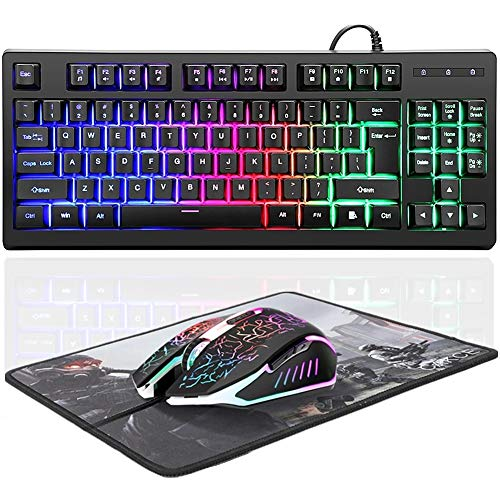 RGB 87 Keys Gaming Keyboard and Colorful Mouse Combo,USB Wired Backlit Mechanical Feeling Gaming Keyboard and Gaming Mouse for Laptop PC Computer Game and Work