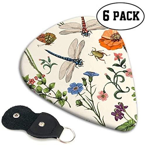 Zomer Vector Naadloos Patroon Botanische Behang Gitaar Picks Gitaar Picking 6 Pack Zware Elektrische Akoestische Gitaren