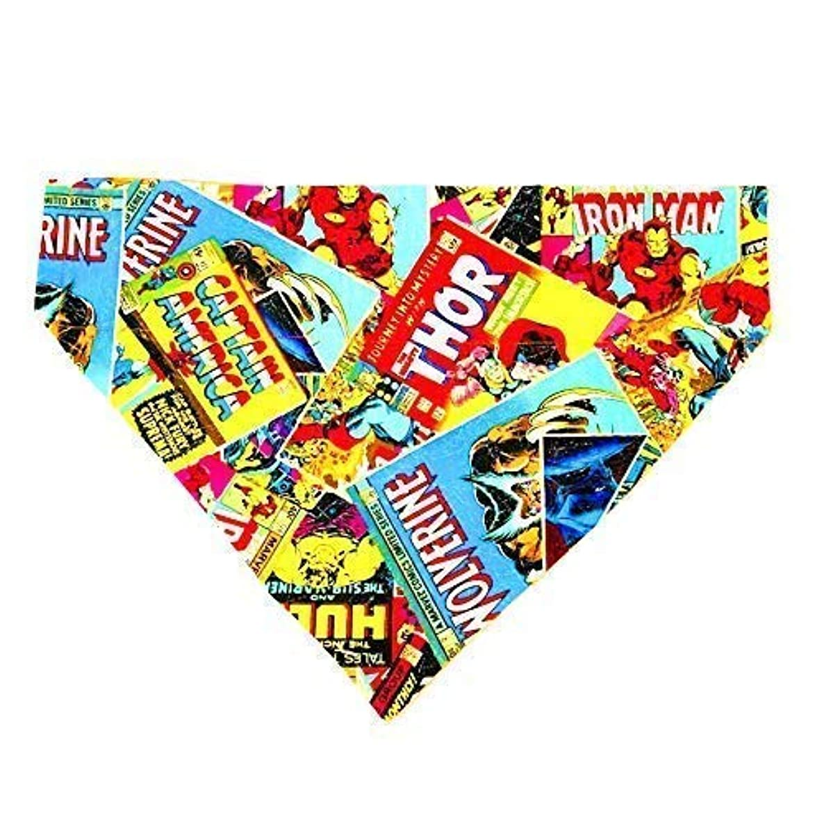 Marvel Comic Pattern Dog Bandana No-Tie, Slip over Collar
