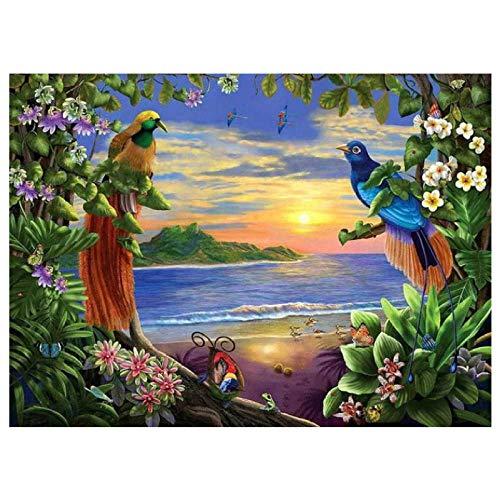 Lote de pintura por números Mar jardín pintura acrílica para niños y adultos principiantes 40 cm x 50 cm sin marco
