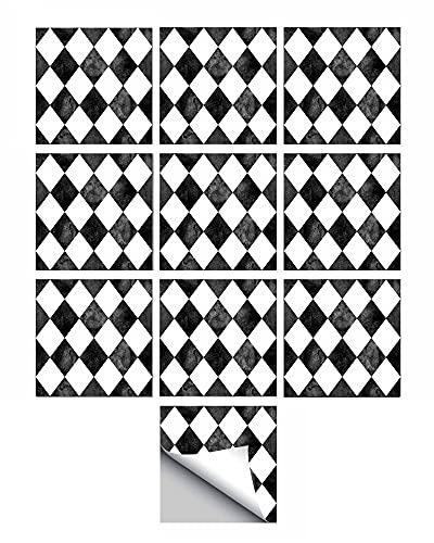 FBBULES 10 Piezas Adhesivos para Azulejos de Pared, Calcomanías Autoadhesivas para Azulejos para el Baño de la Cocina del Hogar, Impermeable a Prueba de Aceite Resistente al Calor, 15x15cm/6x6inch