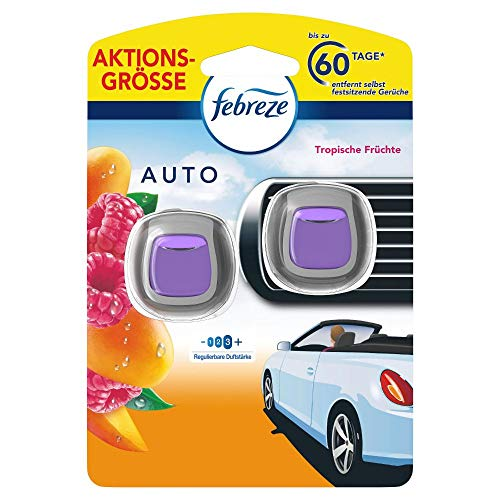 Febreze Auto Lufterfrischer (4 ml) Tropische Früchte, Auto Duft gegen Gerüche (2 x 2 ml)