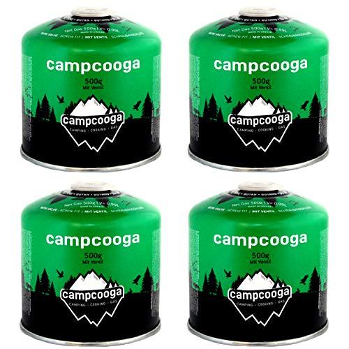 campcooga 4 x 500gr Butan Gaskartusche Schraubkartusche Ventil Camping Grill tragbar EN417 (4X 500gr Butangaskartusche)