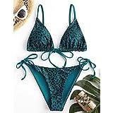 maozuzyy Bikinis Bañador Mujer Bikini con Estampado De Leopardo Traje De Baño con Estampado De Piel De Serpiente Sexy para Mujer Conjunto De Bikini De Dos Piezas con Cordones-Verde_S