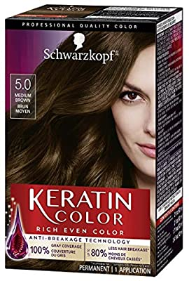 Schwarzkopf Keratin color permanent hair color cream, 5.0 medium brown