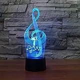 JLDWYKK Lámpara infantil 3D partitura musical partitura musical luz nocturna LED con control remoto 16 cambios de color adecuados para regalos navideños para niños