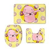 Coloranimal - Juego de baño con 3 piezas, 2 alfombrillas antideslizantes y tapa de inodoro con diseño de dibujos animados, Franela, cerdo, Large