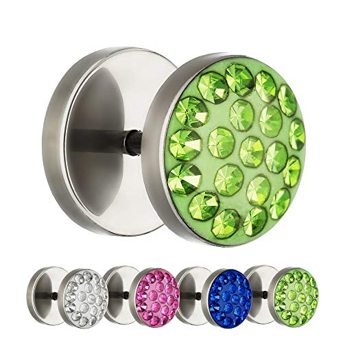 Treuheld® | 10mm Titan Fake Plug Ohrstecker | Silber | Grüne Glitzer - Kristalle | Fake Tunnel Ohrring mit Gewinde zum Schrauben | Damen + Herren