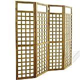 vidaXL Acacia Biombo Enrejado 4 Paneles Madera 160x170cm Separador Habitación