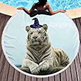 Manta de Toalla de Playa Redonda Gruesa -White Tiger Magician Design Alfombra Circular Circular Grande