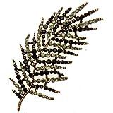 Acosta - negro y montura de color gris cristal - Vintage broche con forma de tamaño grande de hojas de plumas tono de oro - caja de regalo