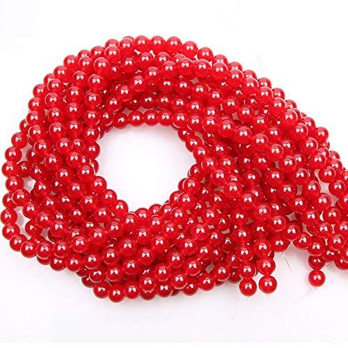 YUXIwang Pulsera 2 hebras 4/6/8/10 / 12mm Jades Naturales Perlas de Piedra Rojas Redondas Sueltas Perlas de Gemas para joyería Que Hacen Bricolaje brazaletes con Cuentas 15 ''